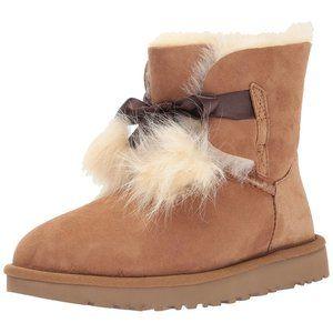 UGG $170 Gita Pom Pom Boots Chestnut Sz 11 NIB!